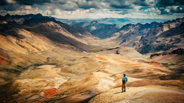 Peru and man viewing mountains