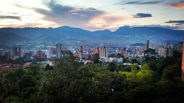 Medellin Colombia at sunset